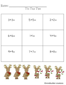 Holiday Simple Addition and Subtraction Tic Tac Toe Printables