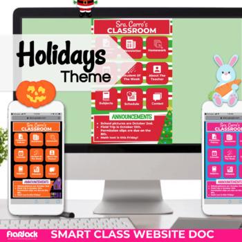 holidays smart class website doc google slides style tpt