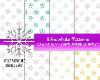 Holiday Snowflake Papers or Backgrounds • 8 Snowflake Digi