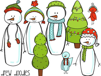 Holiday Snowman Digital Clip Art Set