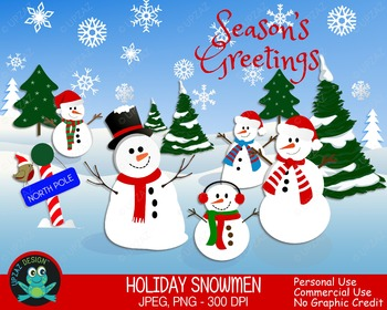 Snowmen Clipart (Grafik) von AMBillustrations · Creative Fabrica