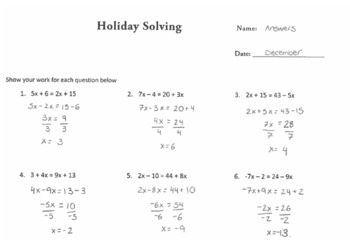 Holiday Solving Equations Puzzle