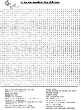 Holiday Song Word Search