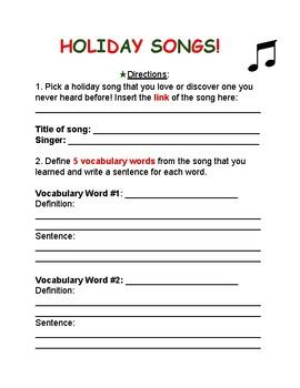 Holiday Song Worksheet!