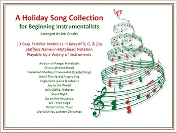Holiday Songs for Beginning Instrumentalists - 13 Easy, Note-Name Tunes