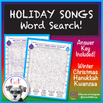 Holiday Songs Word Search Puzzle!