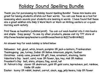Holiday Sound Spelling Mini Books