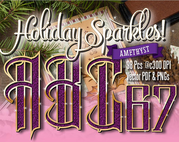 "Holiday SparkleAlphabet Clip Art, 98pcs, 7"" High, Vector P"