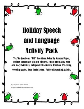Holiday Speech and Language Activity Pack