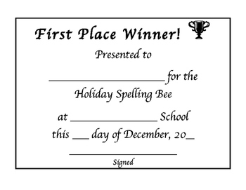 Holiday Spelling Bee Words & Awards