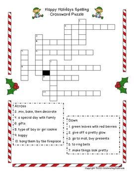 Holiday Spelling List with Crossword Puzzle and Word Work Activity