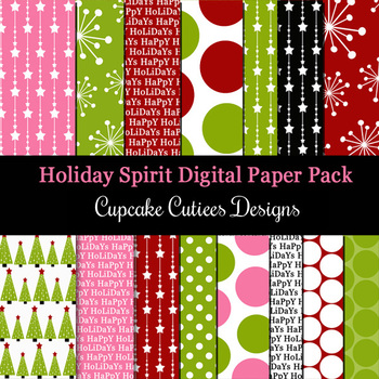 Holiday Spirit Christmas Digital Paper Pack Set