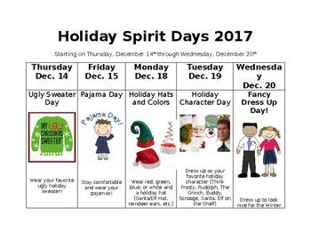 Holiday Spirit Days