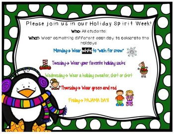 Christmas Spirit Week Ideas School.Holiday Spirit Week Flyer