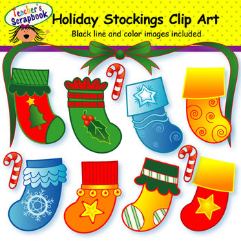 Holiday Stockings Clip Art