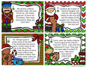Holiday & Christmas Word Problem Task Cards