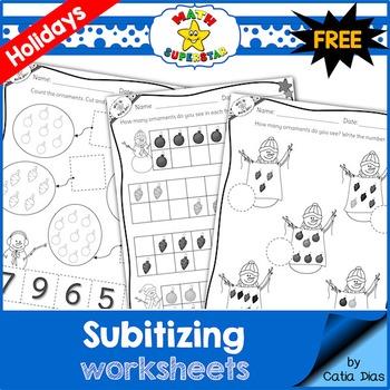 Subitizing Worksheets - Winter Holidays - FREE