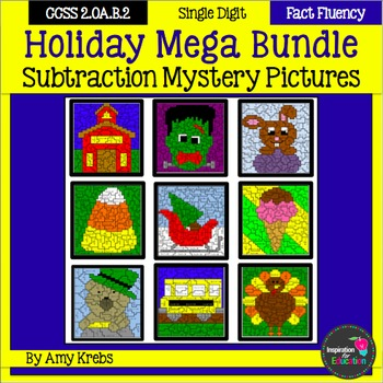 Holiday Subtraction Mystery Pictures - MEGA BUNDLE
