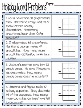 holiday subtraction with regrouping word problems by ka long books resources. Black Bedroom Furniture Sets. Home Design Ideas