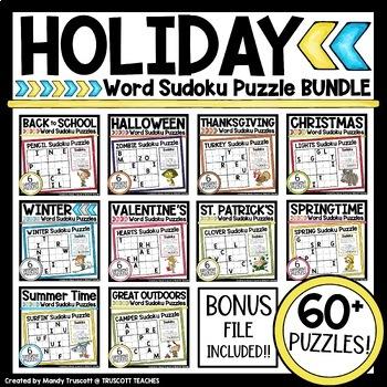 Holiday Sudoku Word Puzzles BUNDLE