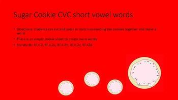 Full Version!!!! Holiday Sugar Cookie CVC/CCVC worksheets