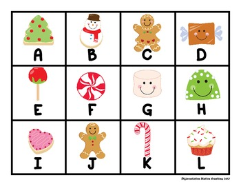 "Holiday Sweet Treats:  ""Roll, Say, Keep!"" Alphabet Center, Game, and Printables"