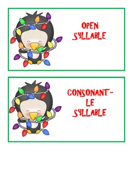 Holiday Syllable Mix-Up - A Syllable Sort Using the 102 Most Common Syllables