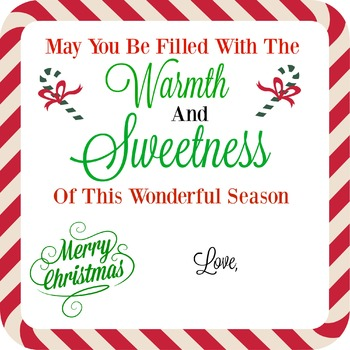 Holiday TAG WISHING YOU WARMTH AND SWEETNESS
