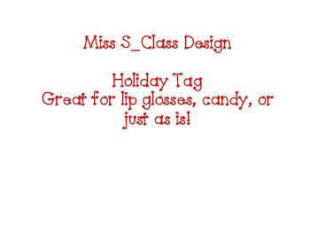 Holiday Tags for School Staff and Students