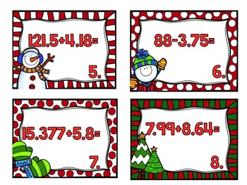 Holiday Task Cards-Adding and Subtracting Decimals