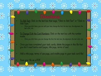 Holiday Task Cards / Flashcard Template (Form B)
