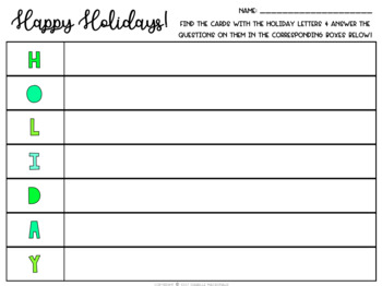 Holiday Task Cards (Includes Editable Version)