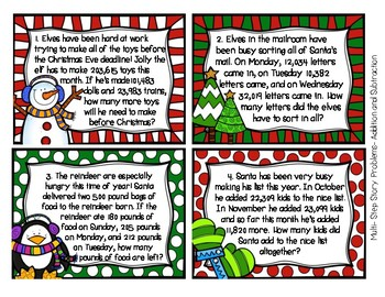 Holiday Task Cards (Word Problems) Fourth Grade- Christmas, Hanukkah, Kwanzaa