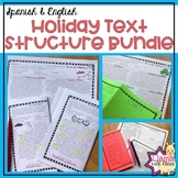 Holiday Text Structure Worksheets Bundle in English and Spanish