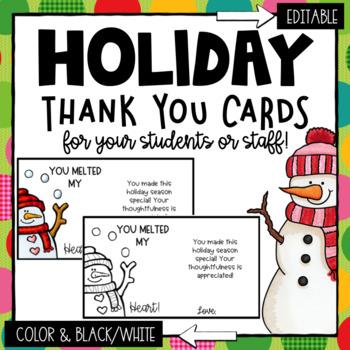 Christmas Thank You Cards- Editable