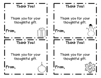 Holiday Thank You Cards (Christmas, Winter, Holiday Note Card Templates)