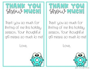 Holiday Thank You Notes - Freebie