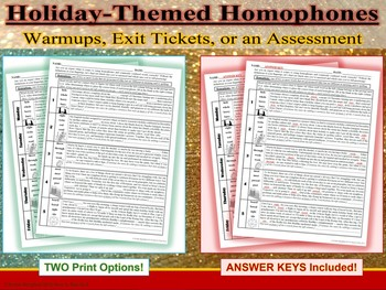 Holiday-Themed 10-Set Homophones Practice