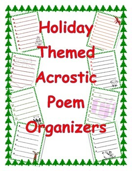Holiday Themed Acrostic Poem Organizers