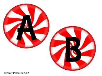 Holiday Themed Alphabet {Peppermint Candy} & Pennant {Santa's Belt}