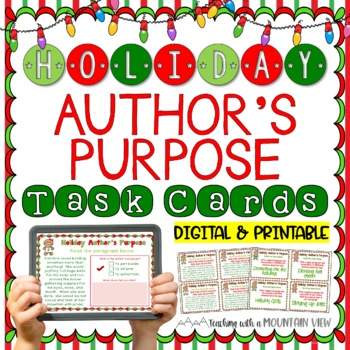 Holiday Author's Purpose Task Cards  { Winter and Christmas }