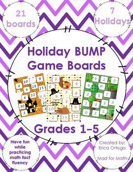 Holiday Themed BUMP Game Boards Math Fact Fluency for Grades 1-5