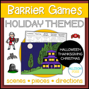 Holiday Themed Barrier Game Halloween, Thanksgiving, Christmas