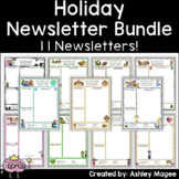 Holiday Themed Classroom Newsletter Templates - A Set of 10