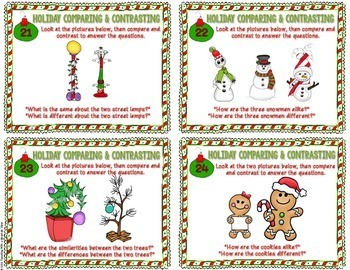 Holiday Themed Compare and Contrast Task Cards  { Winter and Christmas }