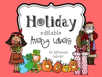 Holiday Themed Editable Classroom Labels 2x4 { Avery Label 8163 }