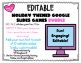 Holiday Themed Editable Google Slides Games BUNDLE | Dista