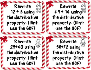 Holiday Themed GCF and LCM Task Cards 6.NS.B.4
