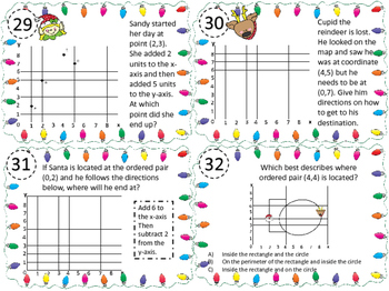 Holiday Themed Graphing on Coordinate Plane Task Cards 5.8C, 5.G.A.1, 5.G.A.2