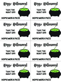 Holiday Themed Homework Passes